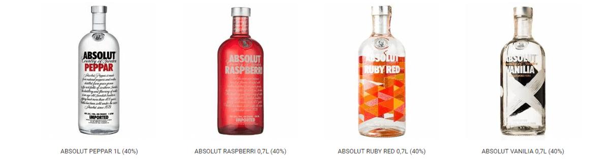 Absolut vodka druhy