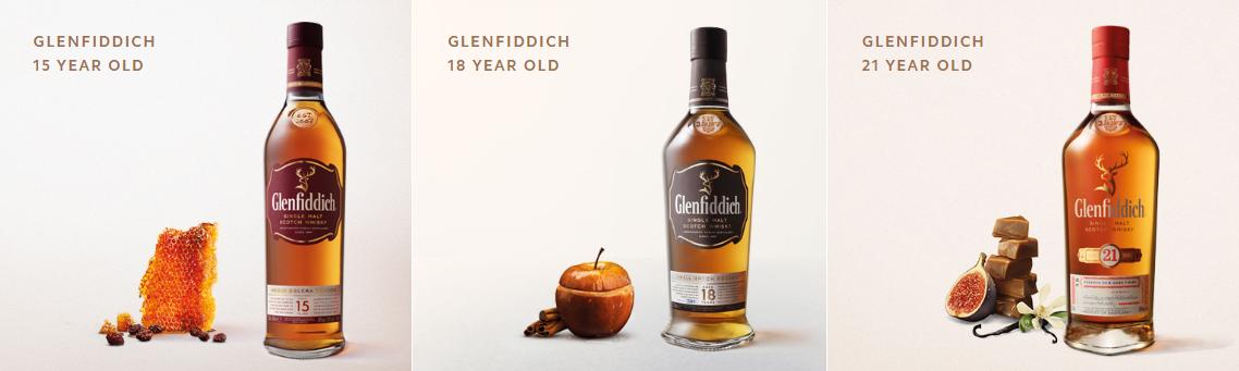Glenfiddich druhy aprodukty